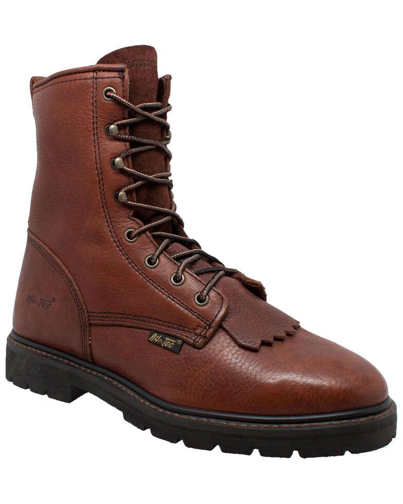 """Ad Tec Men's 9"""" Kiltie Work Boots - Soft Toe, Chestnut, hi-res"""