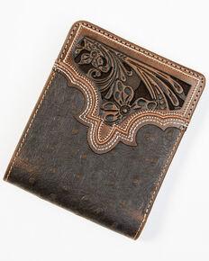 Cody James Men's Brown Ostrich Bifold Tooled Wallet, Brown, hi-res