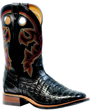 Boulet 3-Piece Black Caiman Belly Boots - Square Toe, Black, hi-res