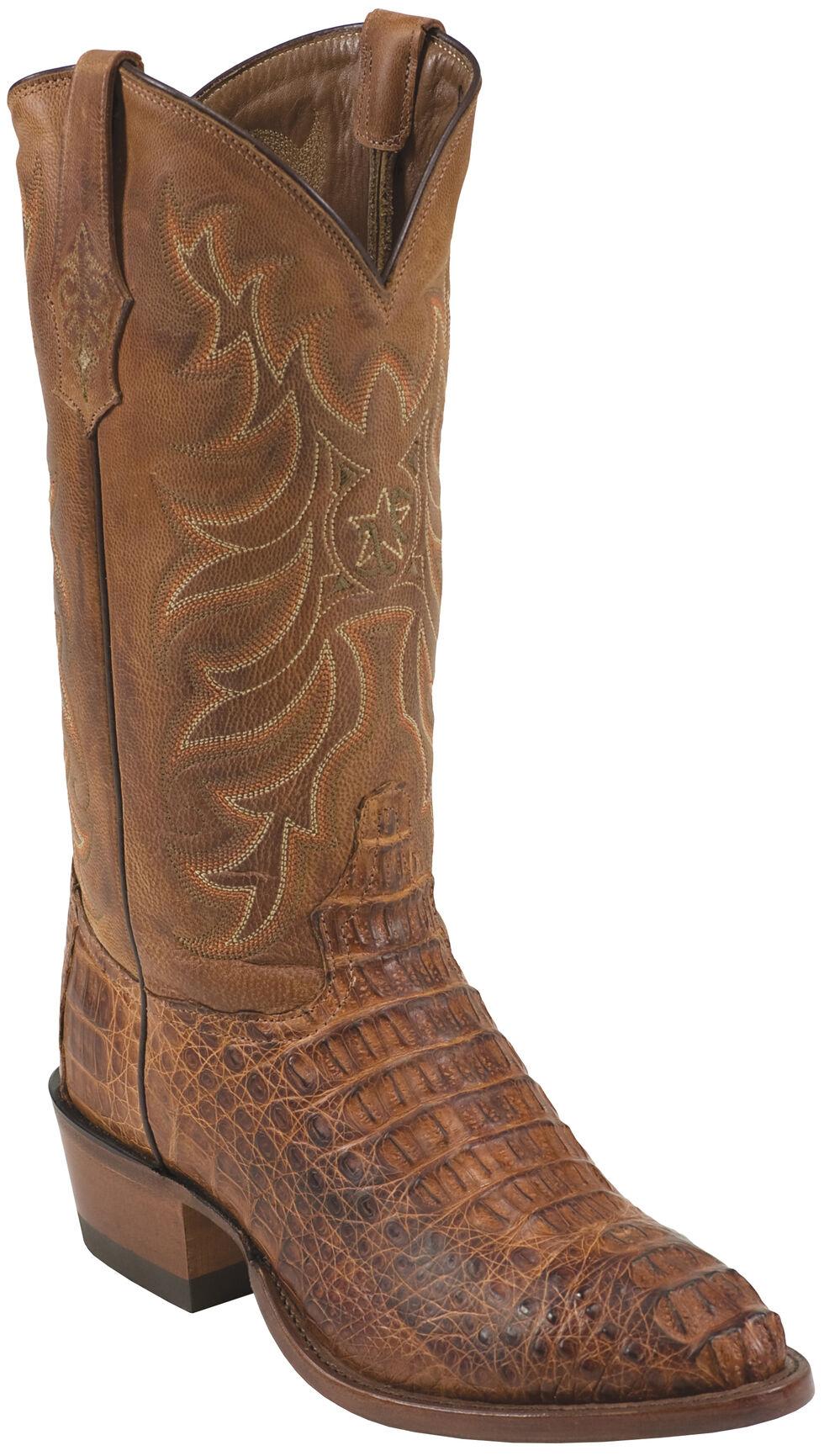Tony Lama Men's Reydon Cognac Vintage Hornback Caiman Cowboy Boots - Medium Toe , Cognac, hi-res