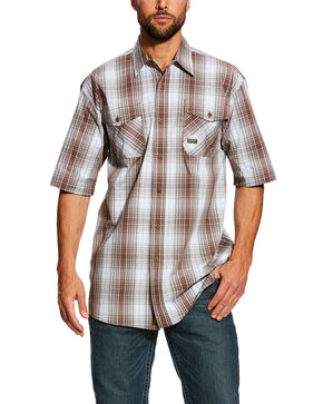 Ariat Men's Rebar Made Tough Plaid Short Sleeve Work Shirt , Grey, hi-res