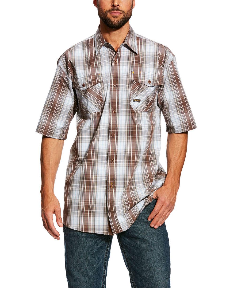 Ariat Men's Rebar Made Tough Plaid Short Sleeve Work Shirt , Grey, hi-res