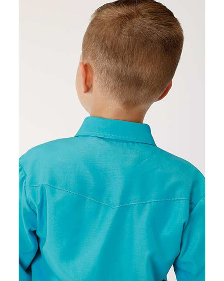 Roper Boys' Classic Turquoise Solid Long Sleeve Western Shirt , Turquoise, hi-res