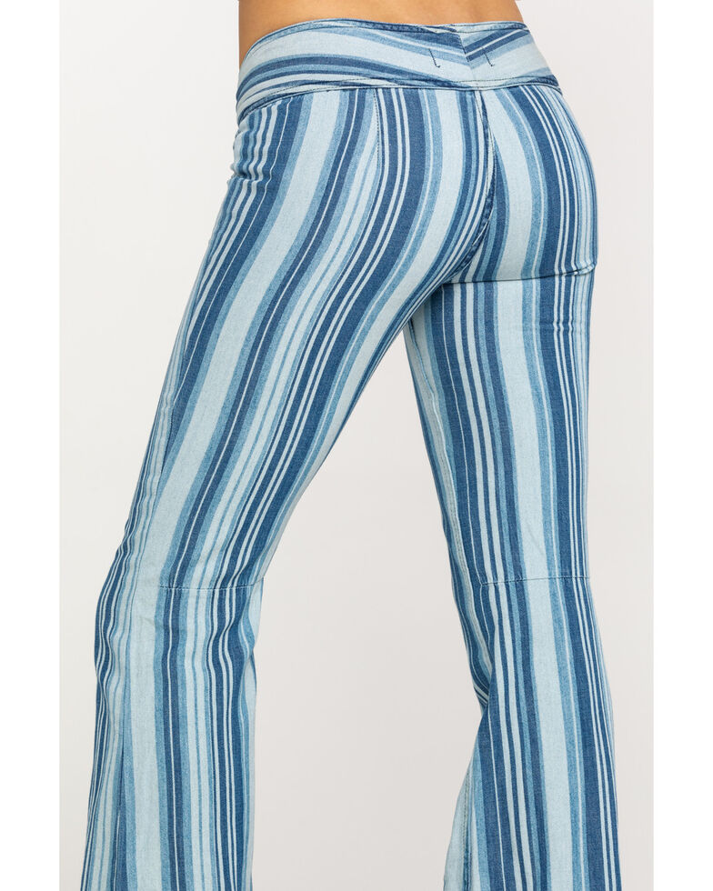 Free People Women's Journey Flare Blue Jeans, Multi, hi-res