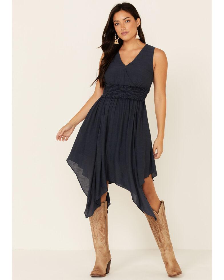 Wishlist Women's Surplice Hanky Hem Dress, Navy, hi-res