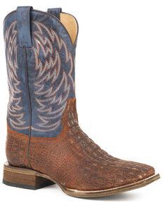 Roper Men's Lars Vintage Cognac Embossed Caiman Cowboy Boots - Square Toe, Brown, hi-res