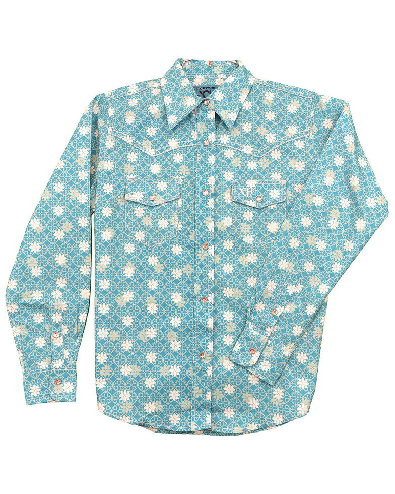 Cowgirl Hardware Girls' Turquoise Floral Print Long Sleeve Snap Western Shirt , Turquoise, hi-res