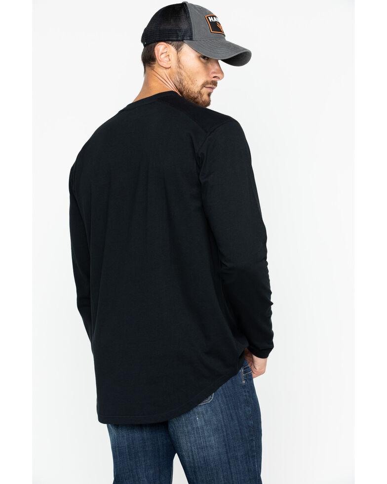 Hawx Men's Black Logo Crew Long Sleeve Work T-Shirt - Big , Black, hi-res