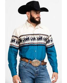Roper Men's Blue Border Print Long Sleeve Western Shirt , Blue, hi-res