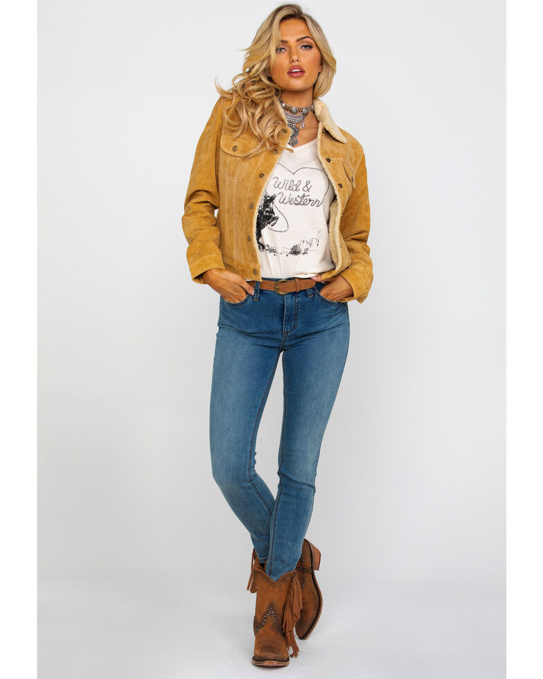 Scully Women's Camel Faux Shearling Jean Jacket, Rust Copper, hi-res