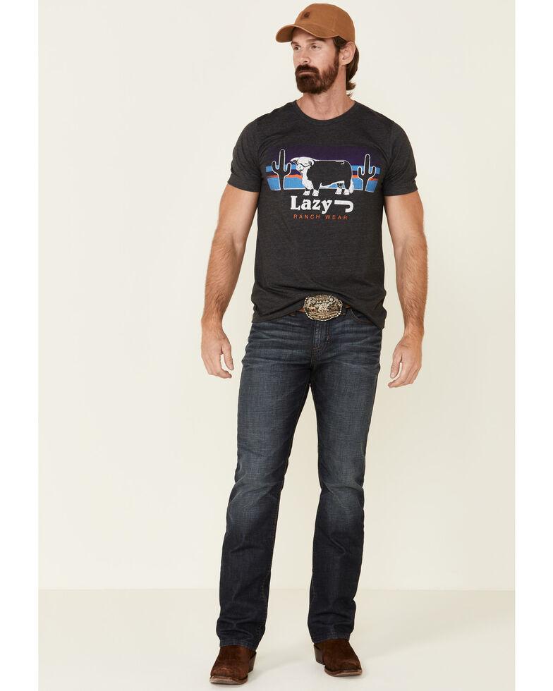 Lazy J Ranch Wear Men's Grey Elevation Cow Patch Graphic T-Shirt , Dark Grey, hi-res