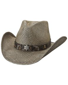 Bullhide Women's Law Enforcement Straw Hat, Black, hi-res