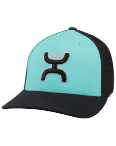 HOOey Kids Turquoise & Black Coach Embroidered Logo Mesh-Back Flex-Fit Ball Cap , Turquoise, hi-res