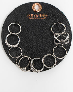 Shyanne Women's Bling 10 Pack Ring Patch Set, Silver, hi-res