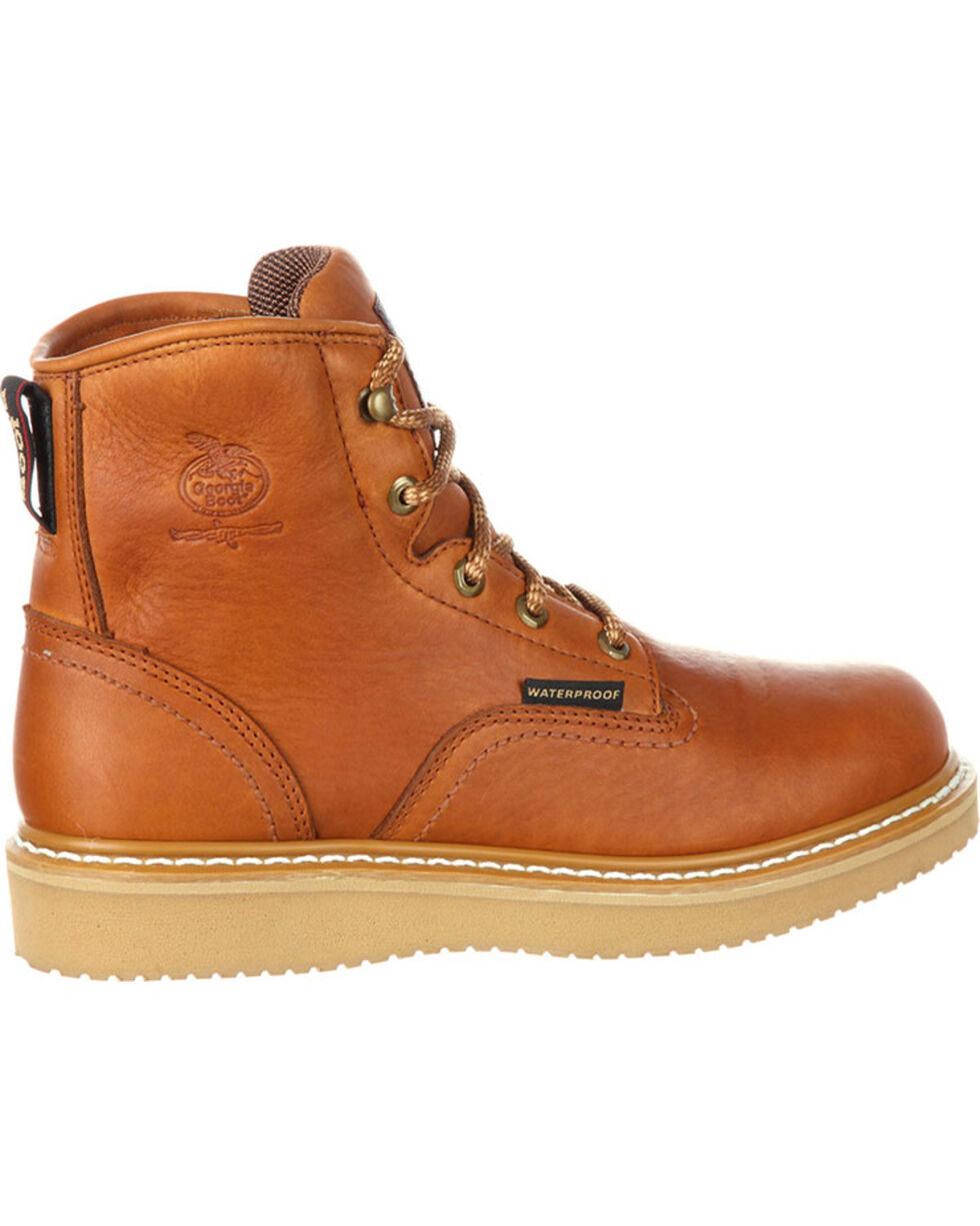 """Georgia Men's Brown Waterproof Wedge 6"""" Work Boots - Round Toe , Brown, hi-res"""