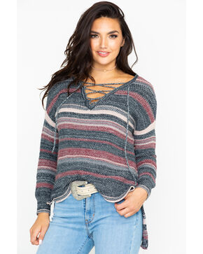 Shyanne Women's Stripe Marbled Lace Up Neck Sweater, Black, hi-res