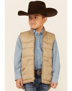 Roper Boys' Tan Rangewear Down Zip Front Vest , Tan, hi-res