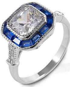 Kelly Herd Women's Small Asscher Cut Blue Spinel Ring , Silver, hi-res