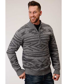 Stetson Men's Grey Sweater Wool Knit 1/4 Zip Pullover , Grey, hi-res