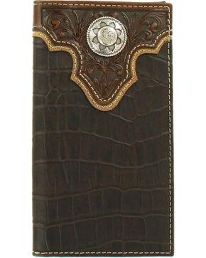 Nocona Men's Croc Print Concho Rodeo Wallet, Brown, hi-res