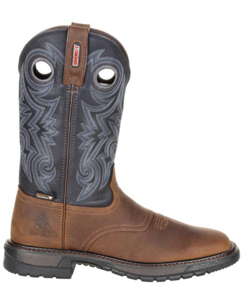 Rocky Men's Original Ride FLX Waterproof Western Work Boots - Soft Toe, Brown, hi-res