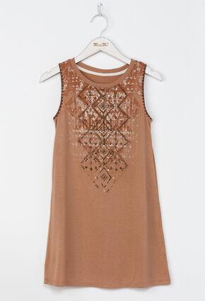 Miss Me Girls' Native Trails Dress , Orange, hi-res