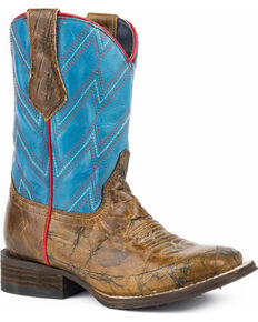 Roper Boys' Chevron Marbled Cowboy Boots - Square Toe, Brown, hi-res