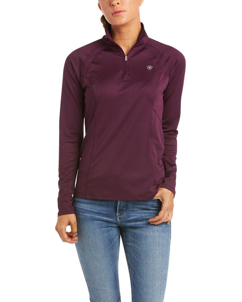 Ariat Women's Solid Italian Plum Sunstopper 2.0 1/4 Zip Pullover , Purple, hi-res