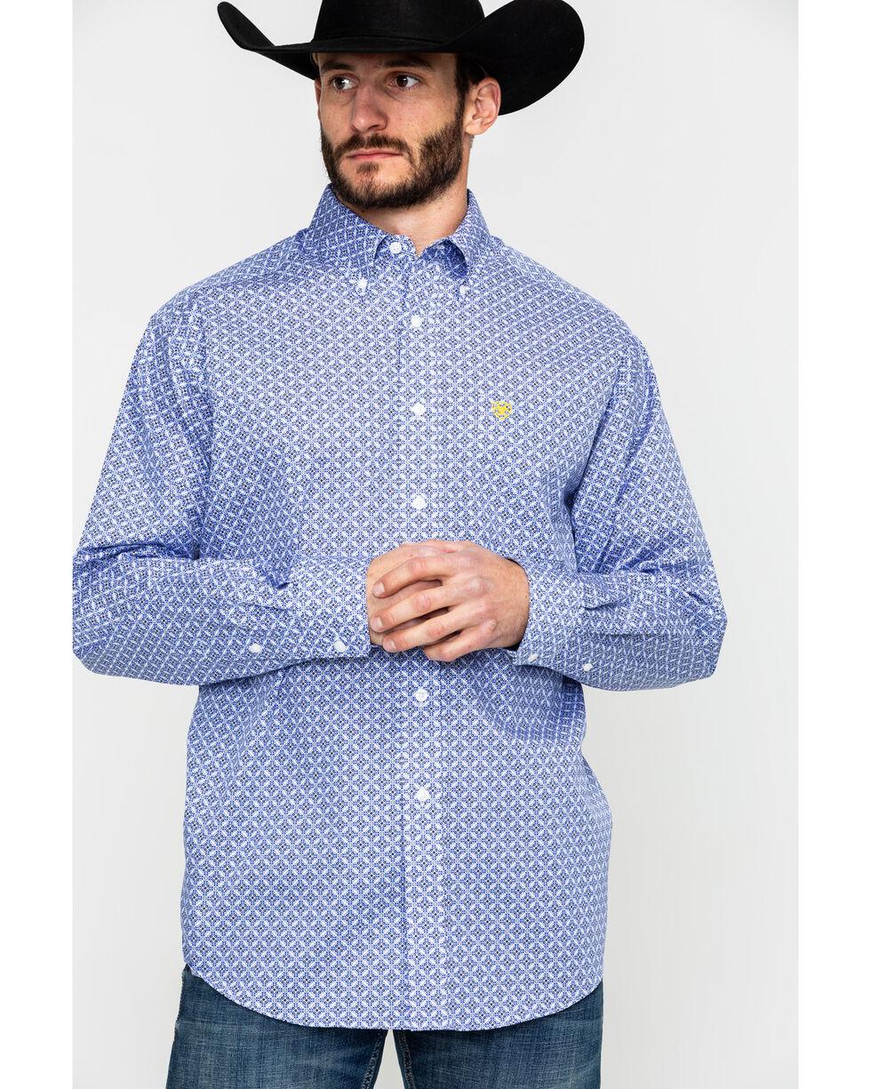 Ariat Men's Lankton Floral Geo Print Long Sleeve Western Shirt , White, hi-res
