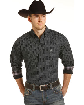Panhandle Men's Black Peached Poplin Print Western Shirt , Black, hi-res