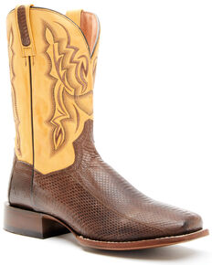 Dan Post Men's Exotic Snake Western Boots - Wide Square Toe, Brown, hi-res