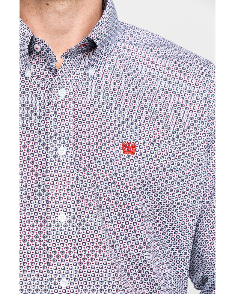 Cinch Men's White Geo Print Button Long Sleeve Western Shirt , White, hi-res