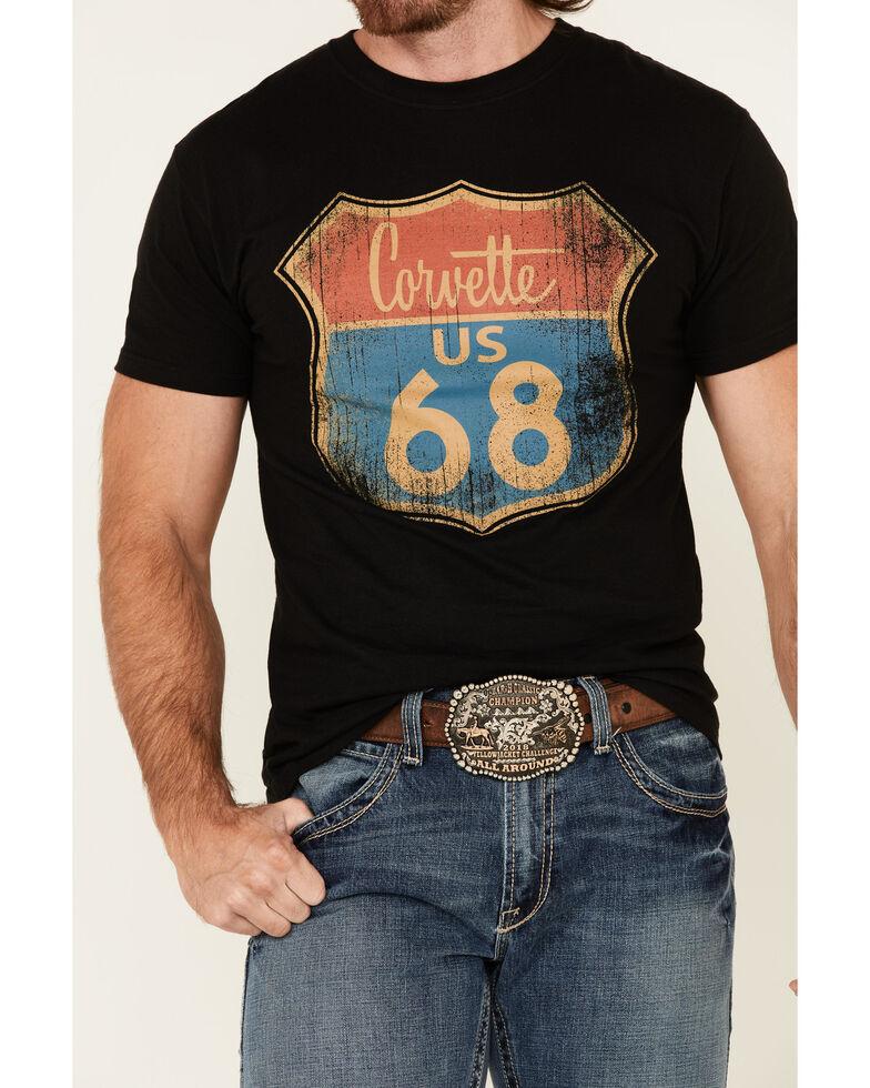 H Bar C Men's Black Corvette Road Sign Graphic Short Sleeve T-Shirt , Black, hi-res