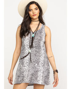 Z Supply Women's Grey Snake Print Slip Dress, Grey, hi-res
