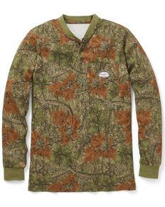 Rasco Men's FR Camo Henley Long Sleeve Work T-Shirt - Big , Camouflage, hi-res