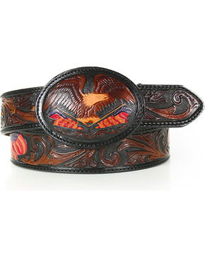Silver Creek Men's American Heritage Eagle Belt , Brown, hi-res
