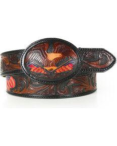Tony Lama Men's American Heritage Eagle Belt , Brown, hi-res