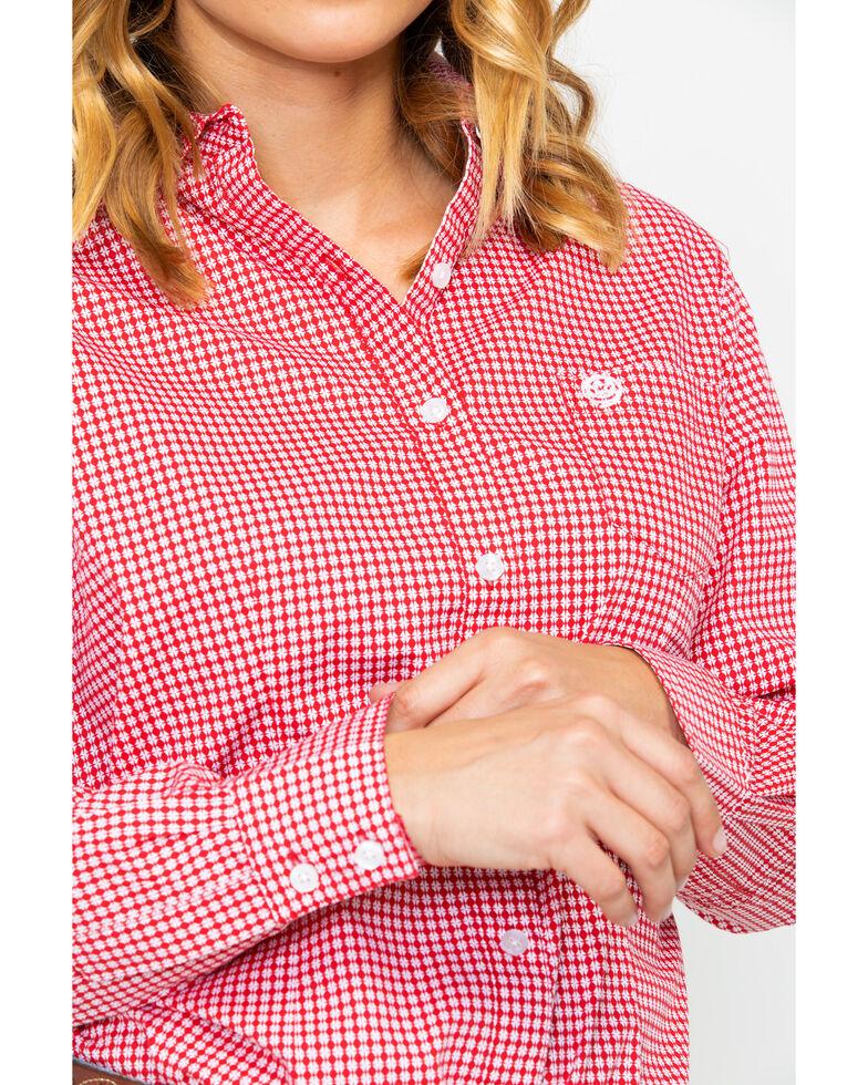 George Strait by Wrangler Women's Red Geo Print Long Sleeve Western Shirt, Red, hi-res