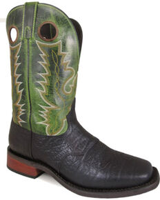 "Smoky Mountain Men's Timber 11"" Black/Green Crackle Leather Cowboy Boots - Square Toe, Black, hi-res"