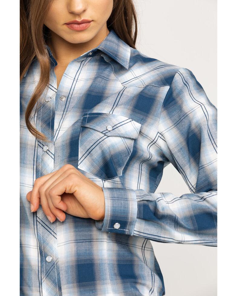 Karman Women's Blue Plaid Long Sleeve Western Shirt, Blue, hi-res
