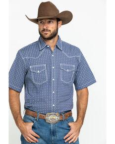 Wrangler 20X Men's Advanced Comfort Purple Geo Print Short Sleeve Western Shirt , Purple, hi-res