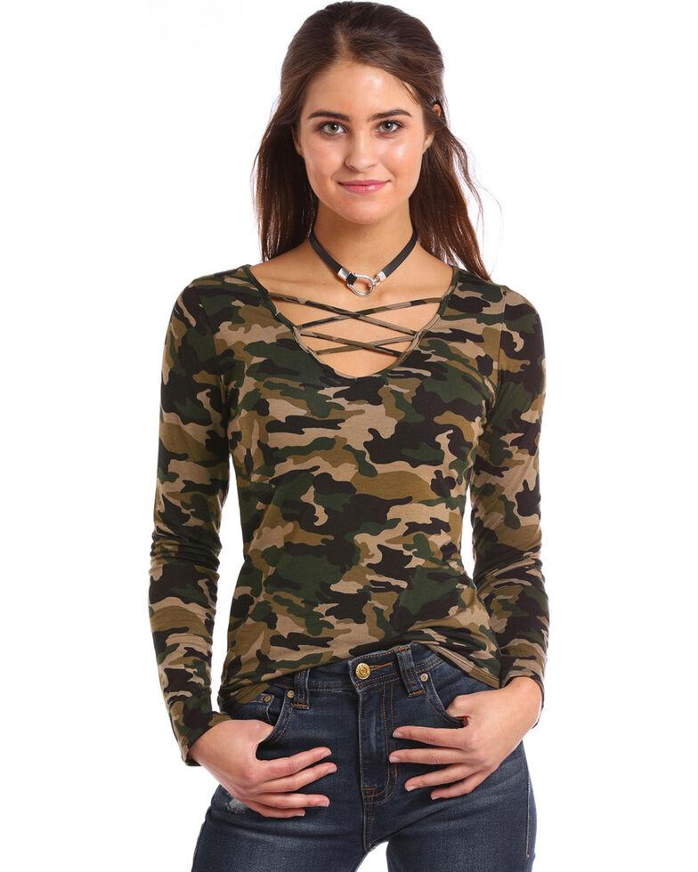 Panhandle Women's Camo Criss Cross Front Top , Camouflage, hi-res