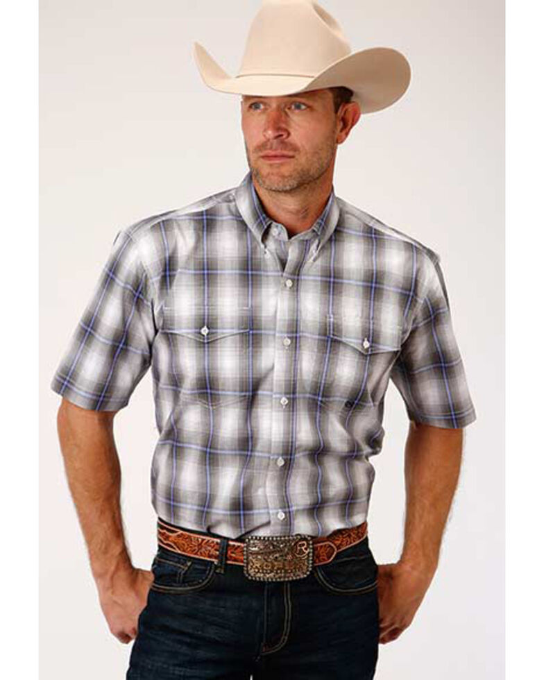 Amarillo Men's Dusk Grey Shadow Plaid Short Sleeve Western Shirt , Grey, hi-res
