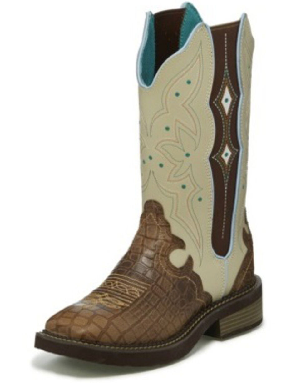 Justin Women's Ameline Gator Print Western Boots - Wide Square Toe, Brown, hi-res