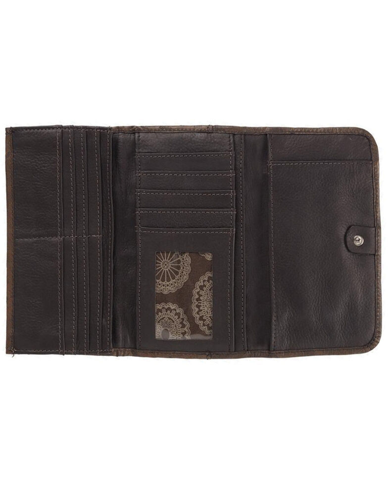 American West Women's Bella Beau Tapestry Trifold Wallet, Brown, hi-res