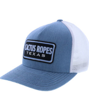 HOOey Men's Blue & White Cactus Ropes Patch Trucker Cap, Blue, hi-res