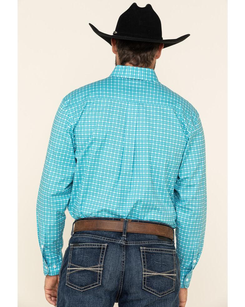 Rough Stock By Panhandle Men's Cadman Vintage Geo Print Long Sleeve Western Shirt , Turquoise, hi-res