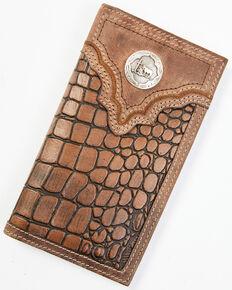 Cody James Men's Croc Praying Cowboy Checkbook Wallet, Brown, hi-res