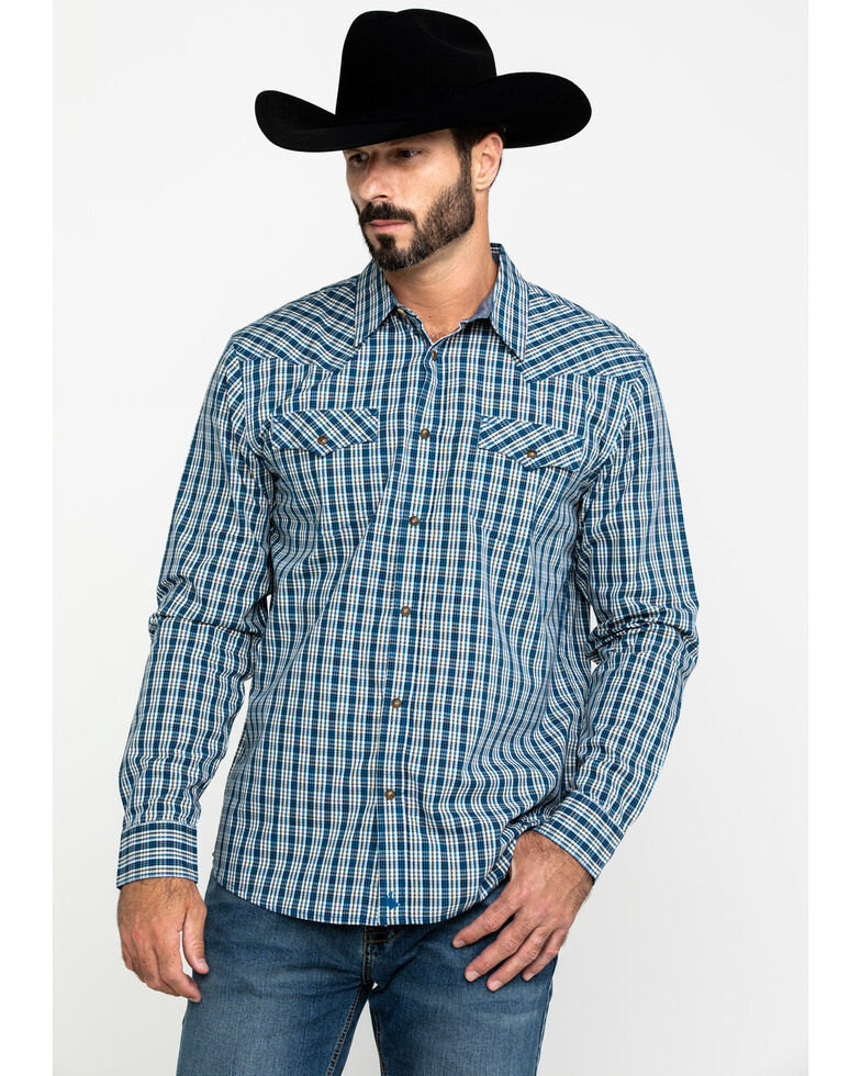 Cody James Men's Harvest Check Plaid Long Sleeve Western Shirt , Blue, hi-res
