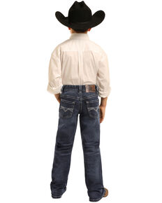 Panhandle Boys' Dark Reflex Stretch Denim Boot Jeans , Blue, hi-res